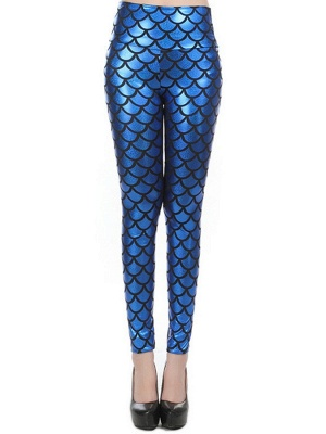 New Street Style Slim Sexy High-Waisted Navy Blue Mermaid Fish Scale Imitation Leather Leggings