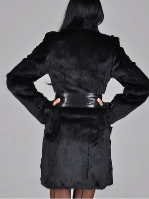 Black Long Sleeve Pockets Casual Fur and Shearling Coat_3