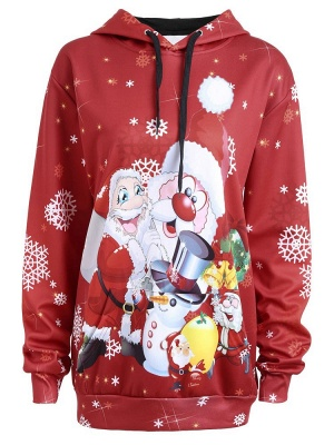 Christmas Hooded Couple Clothes Red Cartoon Santa Claus Snowflake Printed Long Sleeves Thick Hoodie for Men/Women - WSDe