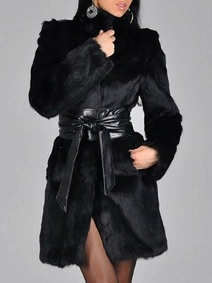 Black Long Sleeve Pockets Casual Fur and Shearling Coat_2
