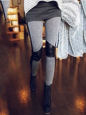 Korean Cotton Stitching Faux Leather Gray Leggings
