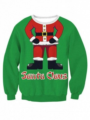 Green Santa Claus Printed Long Sleeves Cute Christmas Sweatshirts for Women