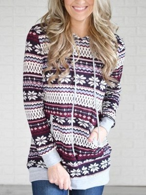 Ethnic Style Snowflake Printed Long Sleeves Hooded Christmas Fleece Hoodies for Women
