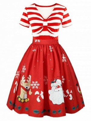 Christmas Panel Plus Size Flared Dress