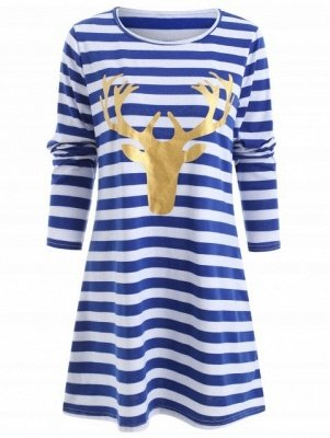 Christmas Elk Head Print Tunic Dress