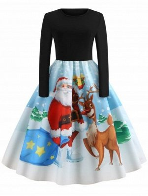 Christmas Santa Claus Elk Print Pin Up Dress