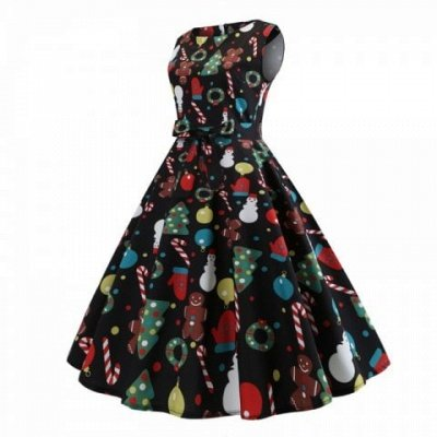 Christmas Print black Dress
