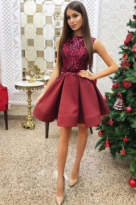Red Sleeveless Short Homecoming Dresses |  Sequins Homecoming Dress_1
