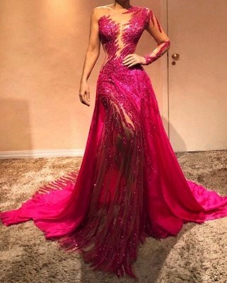Beautiful One Shoulder Sequins Fuchsia Evening Dresses with Sleeves | Sexy Mermaid Affordable Prom Dresses BC0504_2