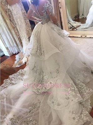 Гламурные длинные рукава Tulle High Neck Платья для невесты Аппликация Свадебные платья со съемной надстройкой qq0375_1