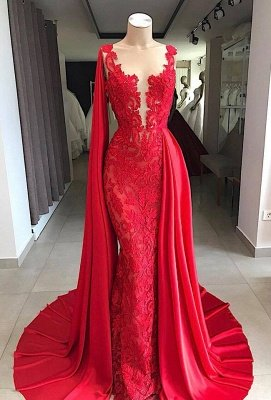 Lace Long Evening Dresses Cheap | Sleeveless Red Prom Dresses with Cape