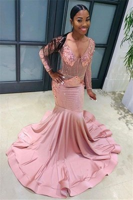 Pink Beads Sequins Sexy V-neck Prom Dresses | Fit and Flare Long Sleeve Elegant Evening Gowns