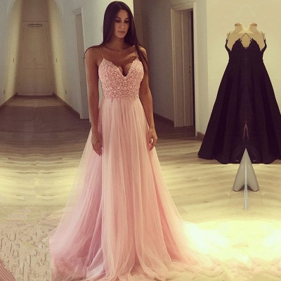 Spaghetti Strap V-Neck Pink Prom Dress Long Tulle Party Gowns BA7939_3