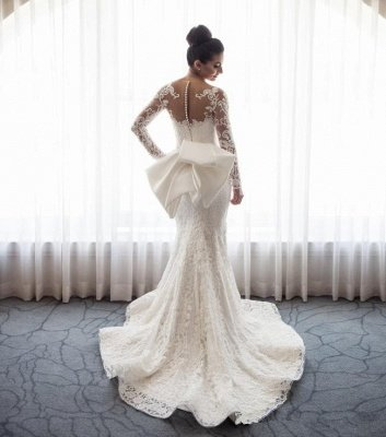 Gorgeous Mermaid Lace Wedding Dress with Sleeves   Bowknot Detachable Overskirt Cheap Bride Dress_4