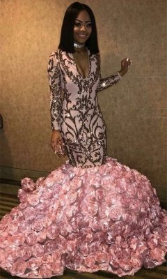 V-neck Long Sleeve Pink Flowers Prom Dresses Cheap | 2019 Mermaid Appliques Sexy Graduation Dress bc1363