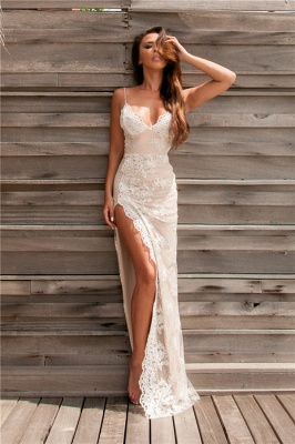 984399a878cb Sexy Spaghetti Straps Split Evening Dresses Lace Sheath Summer Party Dress  for Beach BA3397