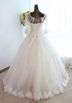 New Arrival Half Sleeve Lace Ball Gown Wedding Dress Crystal Tulle Plus Size Bridal Gown_2