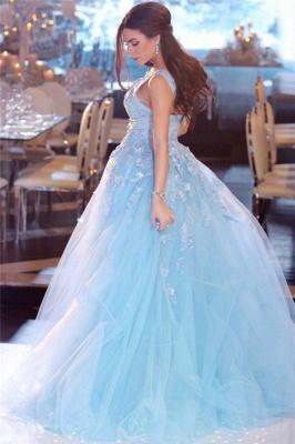 Sexy Himmelblau Abendkleider V-Ausschnitt | Elegante Abendmode Spitze Lang_3