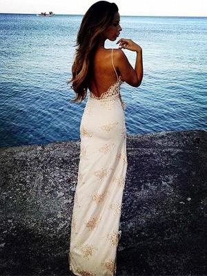 Sexy Spaghetti Straps Split Evening Dresses Lace Sheath Summer Party Dress for Beach BA3397_4