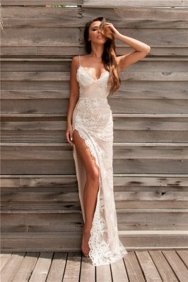 Sexy Spaghetti Straps Split Evening Dresses Lace Sheath Summer Party Dress for Beach BA3397