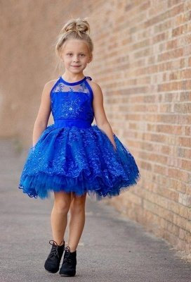 Newest Royal Blue Lace Appliques Flower Girl Dress   Halter Puffy Mini Little Girls Pageant Dress