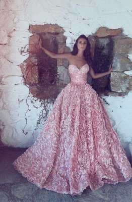 Gorgeous Sweetheart Pink Prom Dress Princess With Appliques_1