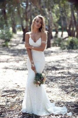 Summer Beach Spaghettis-Straps Lace Backless Mermaid Wedding Dresses_1