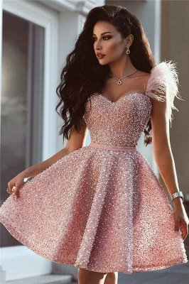 Full Beads Pink Short Evening Dress  | Sleeveless Luxury Cute Fur Homecoming Dress