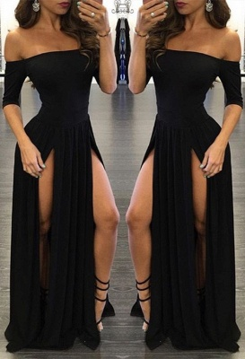 Sexy Black Off-the-shoulder Split Chiffon Half-Sleeve Prom Dress