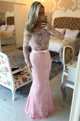 Pink Off-the-Shoulder Long-Sleeves Pearls Lace Mermaid Long Prom Dresses