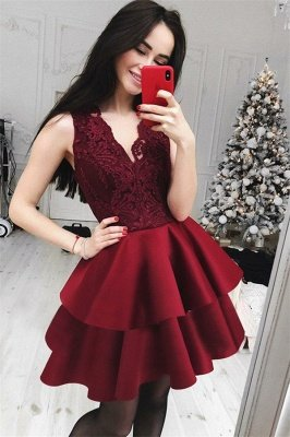 Burgundy Lace Short V-Neck Hoco Dresses  | Cheap Lace Tiered Homecoming Dresses Online
