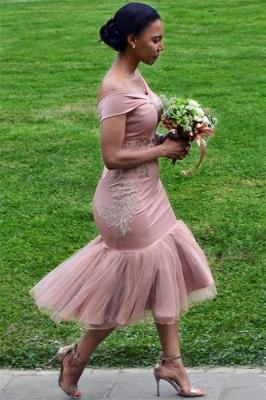 Online Off The Shoulder Pink Bridesmaid Dress | Appliques Mermaid Sexy Short Bridesmaid Dress_1