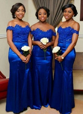 Royal Blue Mermaid Bridesmaid Dress | Off-the-Shoulder Long Wedding Party Dress_1