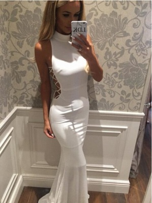 Modern White Mermaid High-Neck Sleeveless Zipper Sweep-Train Prom Dress