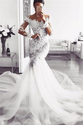 elegantes vestidos de novia sin hombros | Vestidos de novia de encaje de sirena de mangas largas_1