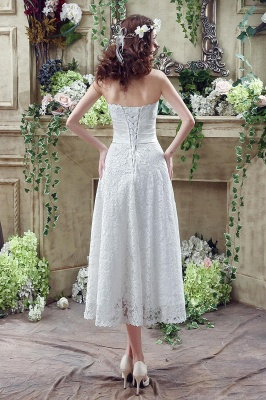 Elegant Sweetheart Lace Wedding Dress Ankle Length Empire Bridal Gown_3