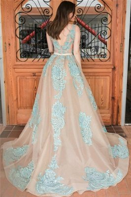 Complicated Straps Lace Appliques Overskirt Prom Dresses | Open Back Sleeveless Nude Evening Gown with Belt_3