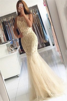 Beaded Crystals Mermaid Tulle Sexy Evening Gown Champagne Affordable Prom Dress  BA6133_1