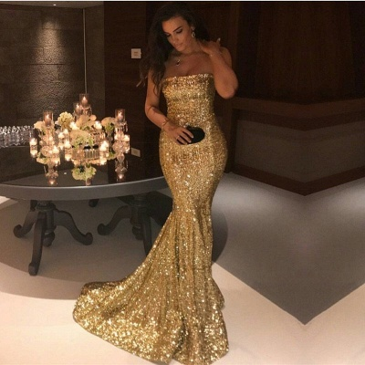 Sparkle Gold Sequins Mermaid Evening Gowns Sexy Strapless Prom Dresses FB0164_6