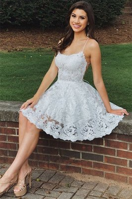 Simple Lace Open Back Homecoming Dresses Cheap |  Sexy  Short Hoco Dress