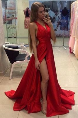 Sexy Side Slit Prom Dresses Cheap V-neck Stretch Satin Evening Gowns CE0015_1