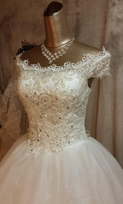 Glamorous Lace Ball Gown Wedding Dress for Princess Appliques Bride Dresses_5