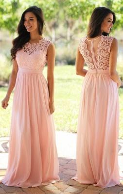 A-line Chiffon Lace Jewel Sleeveless Floor-Length Bridesmaid Dress with Ruffles_6