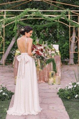 Robe de mariée longue sans manches à manches longues Bowknot_2