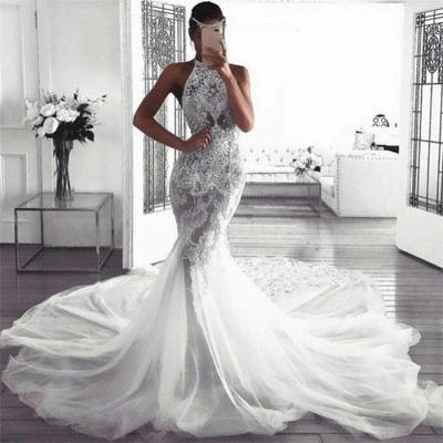 Vestidos de novia elegantes sin mangas del halter | Sexy sirena tul vestidos de novia_3