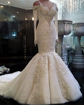 Elegant Mermaid Long Sleeve Wedding Gowns  Cheap Lace Wedding Dresses with Sleeves
