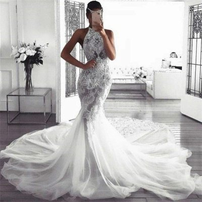 Elegant Sleeveless Halter Wedding Dresses | Sexy Mermaid Tulle Bridal Dresses_3