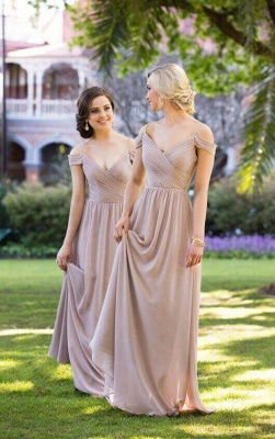 Sexy Brown Off-the-shoulder Chiffon Long Bridesmaid Dresses_1