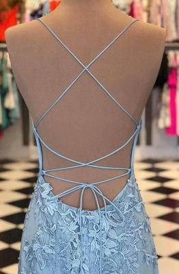 Elegant Sky Blue Spaghetti Strap Lace Applique Simple Long Prom Dress_3