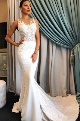 Sleeveless Mermaid Elegant Wedding Gowns | Appliques Lace Wedding Dresses Cheap Online